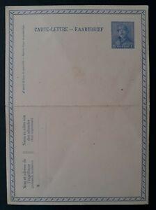 c.1919 Belgium 25c blue King Albert I Stamped Lettercard Unused