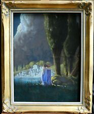 LEOPOLD DELBEKE (1866-1940) LARGE SIGNED SYMBOLIST FRENCH PASTEL - WOMEN BY LAKE