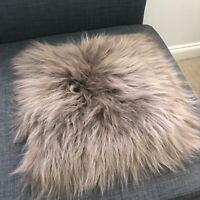 100% Genuine Real Icelandic Sheepskin Seat Pad Square 37cm Taupe L. Brown UK