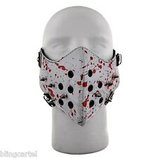 Motorcycle Bloody Spikes White And Red Blood Bicycle Bike BIiker Half Face Mask