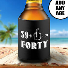 Funny Rude 40th Birthday Stubby Can Cooler Holder Gift Middle Finger Salute
