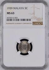 Mazuma *** CNY OFFER Malaya KGVI 1939 5c (Silver) NGC MS63