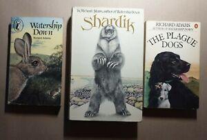 3x Richard Adams Book Bundle Watership Down Plague Dogs Shardik Penguin Pelican