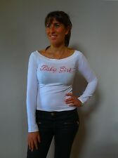 Vintage retro true 1990s 10 S white stretch Sisi baby girl top Hip hop