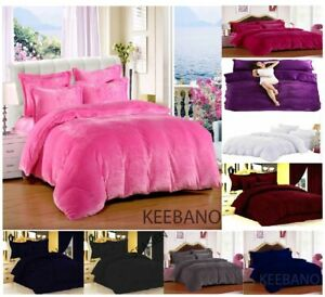 5PC Queen Plain Velvet Duvet Cover / Quilt cover/ Comforter cover Set HOME DECOR