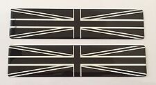 2 x LARGE CHROME & BLACK UNION JACK FLAGS - DOMED GEL FINISH STICKERS/DECALS  UK