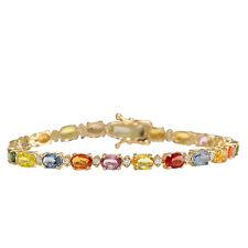 12.74 Carat Natural Multicolor Sapphire, Diamond 14K Yellow Gold Tennis Bracelet