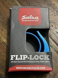 Salsa Flip-Lock Quick Release Seat Post Clamp Collar - 35.0mm - Blue