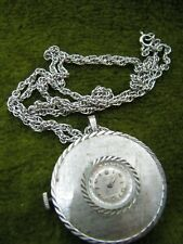 HARPER 17-J WIND UP SILVER TONED NECKLACE WATCH RUNNING GOOD