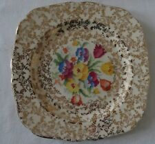 Vintage Tunstall  lot of 4 SALAD DESSERT Plate OLD ENGLISH SAMPLER Chintz & Gold