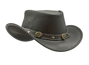 Men's Black Genuine Leather Cowboy Western Hat