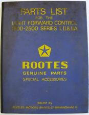 ROOTES Light Forward Control 1500-2500 Original Parts List #6601307 1960s