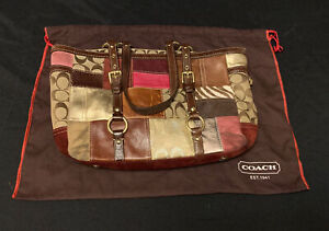 COACH Signature Holiday PATCHWORK Leather Suede Gallery Shoulder Purse, Dust Bag