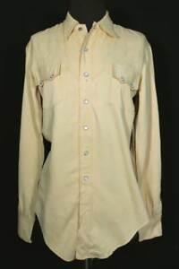 RARE VINTAGE 1950'S CUSTOM TEXAS CHAMOIS GABARDINE WESTERN SHIRT SIZE SMALL