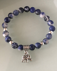 Protection Anxiety Stress Relief Elephant Sodalite Crystal Healing Bracelet