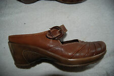 Brown Leather Low Back BARE TRAPS Mary Jane Style Shoes Slides 8.5 M