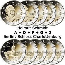 10 x 2 Euro Germania 2018 BFR. - Helmut Schmidt & Charlottenburg Berlin-A D F G J