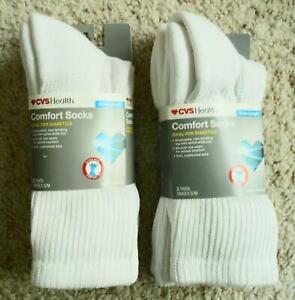 CVS Health Crew Length Unisex Comfort Socks for Diabetics White S/M 4 NEW Pairs