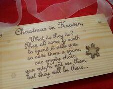 Christmas in Heaven Memorial Verse plaque, loved one ,decoration, xmas handcraft