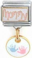 MOMMY BABY HANDPRINT Dangle Italian 9mm Charm FA037 Fits Nomination Classic