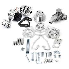 SBC POLISHED SERPENTINE PULLEY KIT COMPLETE WITH CHROME A/C ALTERNATOR P/S
