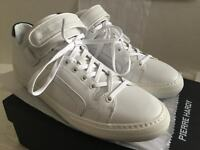 PIERRE HARDY WHITE LEATHER LACE-UP LOGO ANKLE STRAP SNEAKERS SIZE EU 45 US 12
