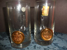 PASABAHCE BLEFELD IMPORT CRYSTAL GLASSES WITH HANDLE AND CREST   SET OF  2 EUC