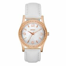 DKNY Ladies Mother of Pearl Rose Gold Crystal White Leather Watch NY8375