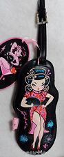 i PIN UP sexy JAPANESE Geisha GIRL FLUFF LUGGAGE TAG suitcase vegan leather nwt