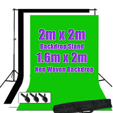 Photo Studio Black White Green Backdrop ChromaKey Screen Background Stand Kit UK