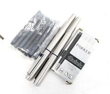 Pair of Brushed Steel Cased PARKER FOUNTAIN PENS w/ Inks  - G13