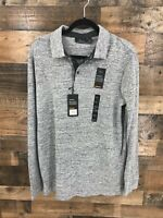New Marc Anthony Men's Grey Heathered Luxury Slim Fit Long Sleeve Polo Shirt