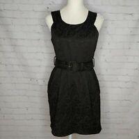 Forever 21 Womens Black Belted Dress Size Medium Sleeveless Floral Embossed