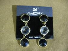 "Vintage SWAROVSKI Black Crystal Rhinestone Clip 2/1/8"" Earrings Marshall Fields"