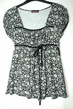 GREY BLACK FLORAL LADIES CASUAL TOP BLOUSE SIZE M/L BODY COVER