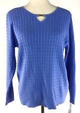 Karen Scott Womens Sweater Large Petite Cable Knit Keyhole Neckline Long Sleeve