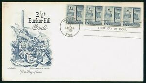 MayfairStamps US FDC 1959 2 1/2 Cent Bunker Hill Coil Military Artmaster Califor