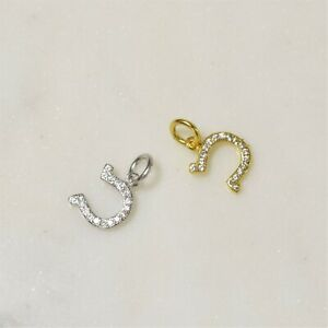 925 Sterling Silver Gold Horseshoe lucky CZ Pendant Charm