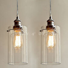 2 ALLIRA Glass Pendant Lights Filament Chrome Fittings Industrial Vintage NEW