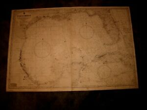 Vintage Admiralty Chart 392 GULF OF MEXICO 1923 edn