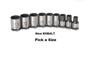"NEW... KOBALT 1/4"" Drive - METRIC Tool Spline SOCKET- 12-pt Point -ANY SIZE 3C"