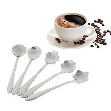 5pcs Silver Flower Shape Coffee Spoon Stainless Steel Tea Spoon Ice Cream Spoon