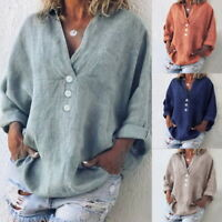 Women V Neck Casual Loose Long Sleeve Blouse Cotton Linen T Shirts Tops Summer