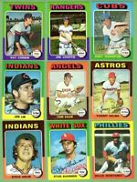 1975 Topps Baseball Cards Commons $149 / 100 cards: Grades 7-9