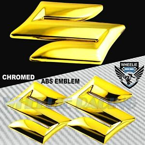 "X2 2"" 4.5MM 3D FAIRING/FENDER EMBLEM STICKER SUZUKI S LOGO DECAL CHROMED GOLD"