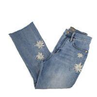 Point Sur Denim Emroidered Kick out Crop Jean size 26 Petite Blue Floral J. Crew