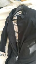 Authentic Womens Burberry Trench Coat Navy Blue Has Nova Check Size UK 12 R