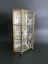 Vintage Brass And Glass Curio Cabinet Jewelery Trinkets Display Mirror Back Etch