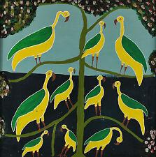 Afrikanisch ? Signiert M S Ajaba - Vögel auf einem Baum