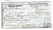 MACON COUNTY AL1858 CIRCUIT COURT WITNESS PAY VOUCHER-ANTEBELLUM COLLECTIBLE